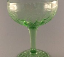 Cameo Ballerina Dancing Girl green depression glass sherbet or tall champagne glass