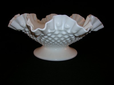 Vintage Fenton Hobnail Milk Glass Bowl