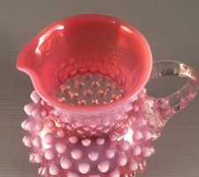 Fenton Cranberry Opalescent Hobnail Pitcher