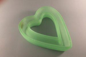 Bagley Uranium Glass Heart Shaped Posy Vase