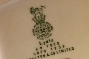 Lydia HN 1908 Royal Doulton figurine back stamp