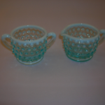 Fenton blue opalescent cream & sugar