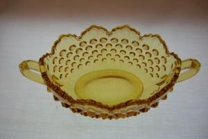 Fenton Hobnail Colonial Amber Nut Dish