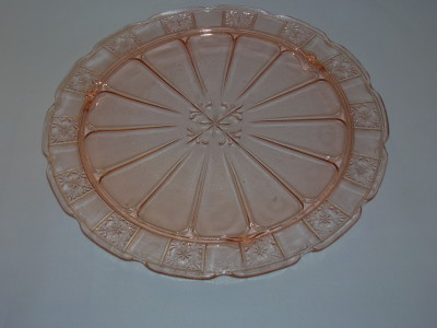 Pink Depression Glass Cake Plate