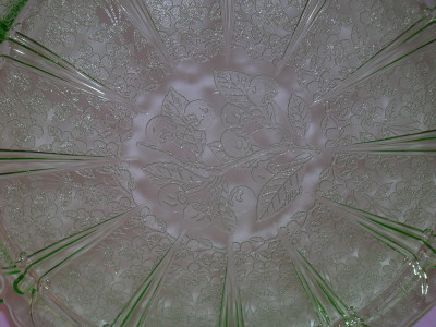 Cherry Blossom Green Glass Tray