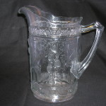 Bird and Strawberry pattern glassf water pitcher