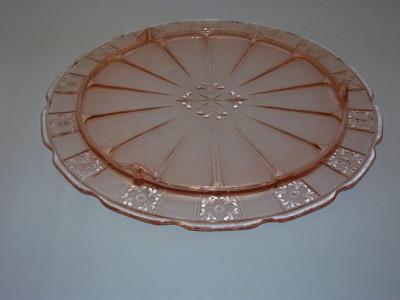 Pink Depression Glass Cake Plate & Pink Depression Glass Cake Plate - Old Time Glass