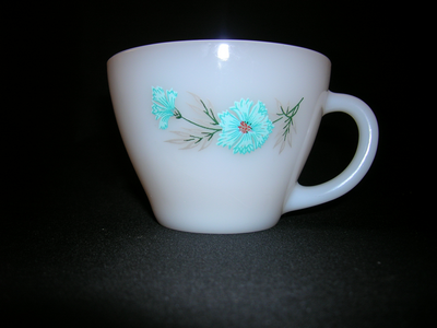 Fire King milk glass cup-Bonnie Blue