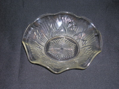 Iris Depression Glass Bowl-Crystal