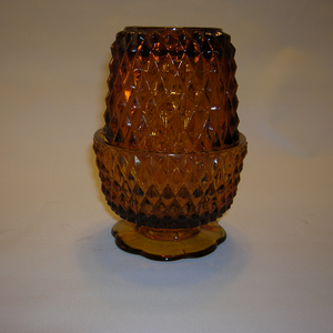 Indiana Diamond Point Fairy Lamp in amber