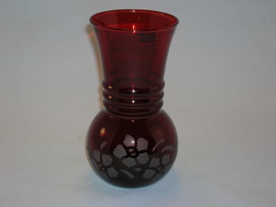 Royal Ruby Glass Vase-Etched