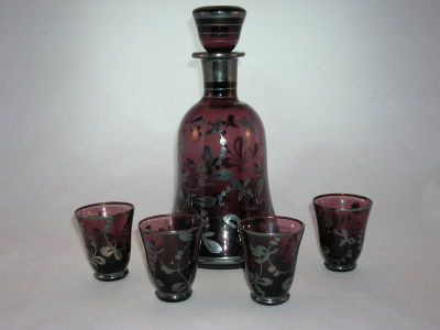 Italian Glass Decanter Set-Amethyst