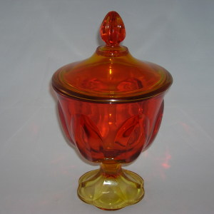 L E Smith amberina glass candy dish