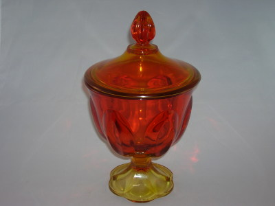 L E Smith Amberina Glass Candy Dish Old Time Glass