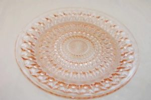 Holiday depression glass plate in pink
