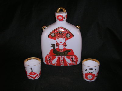 Russian Folk Art Decanter Set