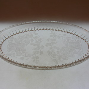 Etched Glass Tray-Meadow Wreath