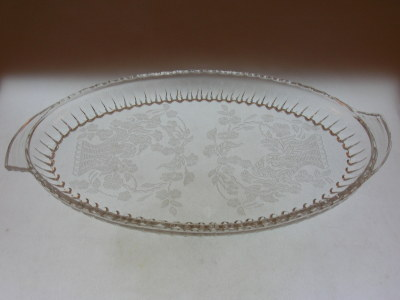 Vintage Etched Glass Tray-Meadow Wreath