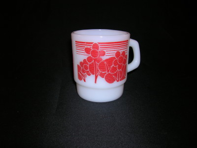 Fire-King Mug Red Floral Motif