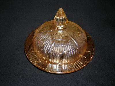 Iris and Herringbone Butter Dish