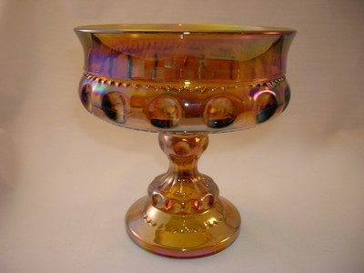 Indiana Carnival Glass Gold Compote