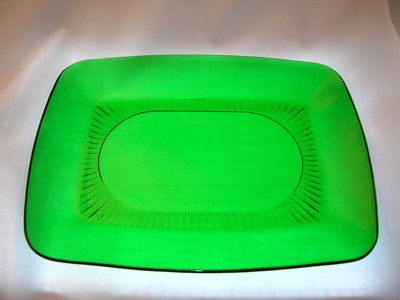 Fire King Charm Forest Green Platter