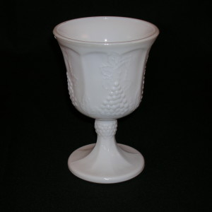 Indiana Harvest milk glass goblet