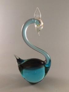 vintage blue murano art glass swan