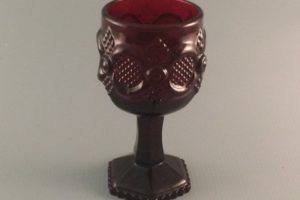 Avon Cape Cod Collection ruby glass wine stem full front view