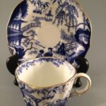 Blue Mikado Royal Crown Derby teacup with saucer