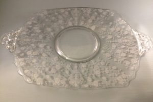 Cambridge Rose Point cake plate