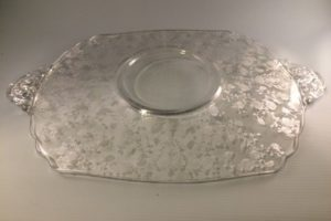 Cambridge Rose Point cake plate bottom view