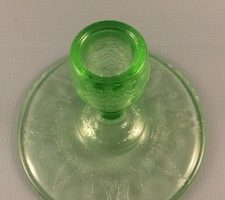 Cameo depression glass candlestick top view