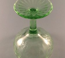 Cameo Ballerina Dancing Girl green depression glass sherbet or tall champagne glass bottom view