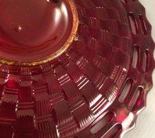 Fenton Basket Weave plate bottom close up
