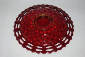 Fenton Basket Weave ruby plate bottom view
