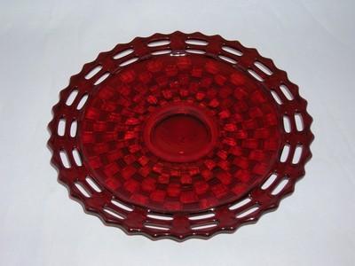 Fenton Basket Weave Ruby Plate