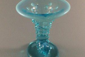 Fe;nton Blue Opalescent Hobnail cornucopia candleholder front view