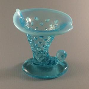 Fenton Blue Opalescent Hobnail Candleholder