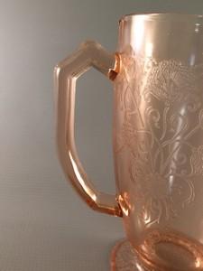 Florentine No 1 pink depression glass pitcher handle