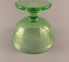 Georgian Lovebirds green depression glass sherbet top view