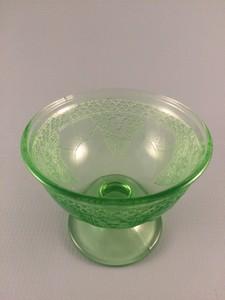 Georgian Lovebirds green depression glass sherbet
