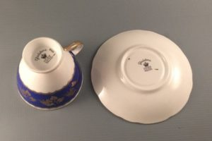 Gladstone China coblalt blue tea cup and saucer bottom view