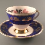 Gladstone China vintage cobalt blue tea cup and saucer with gold ivy leaves