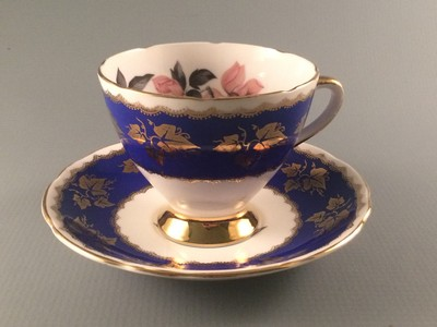 Gladstone China Vintage Cobalt Blue Teacup
