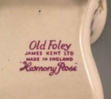 Harmony Rosy bone china boot Old Foley James Kent back stamp close up