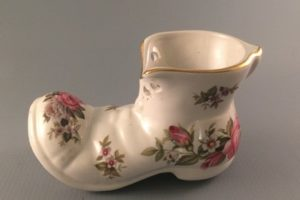 Harmony Rose bone china boot-Old Foley James Kent left side view