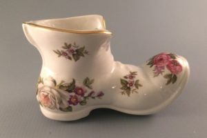 Harmony Rose bone china boot Old Foley James Kent right side view