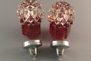 Indiana Diamond Point ruby flashed glass shakers with metal lids bottom view