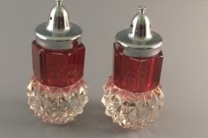 Indiana Diamond Point ruby flashed salt and pepper shakers front view